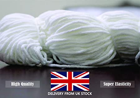 Round Elastic Cord For Masks 50 Meters Densco Elastic Band White
