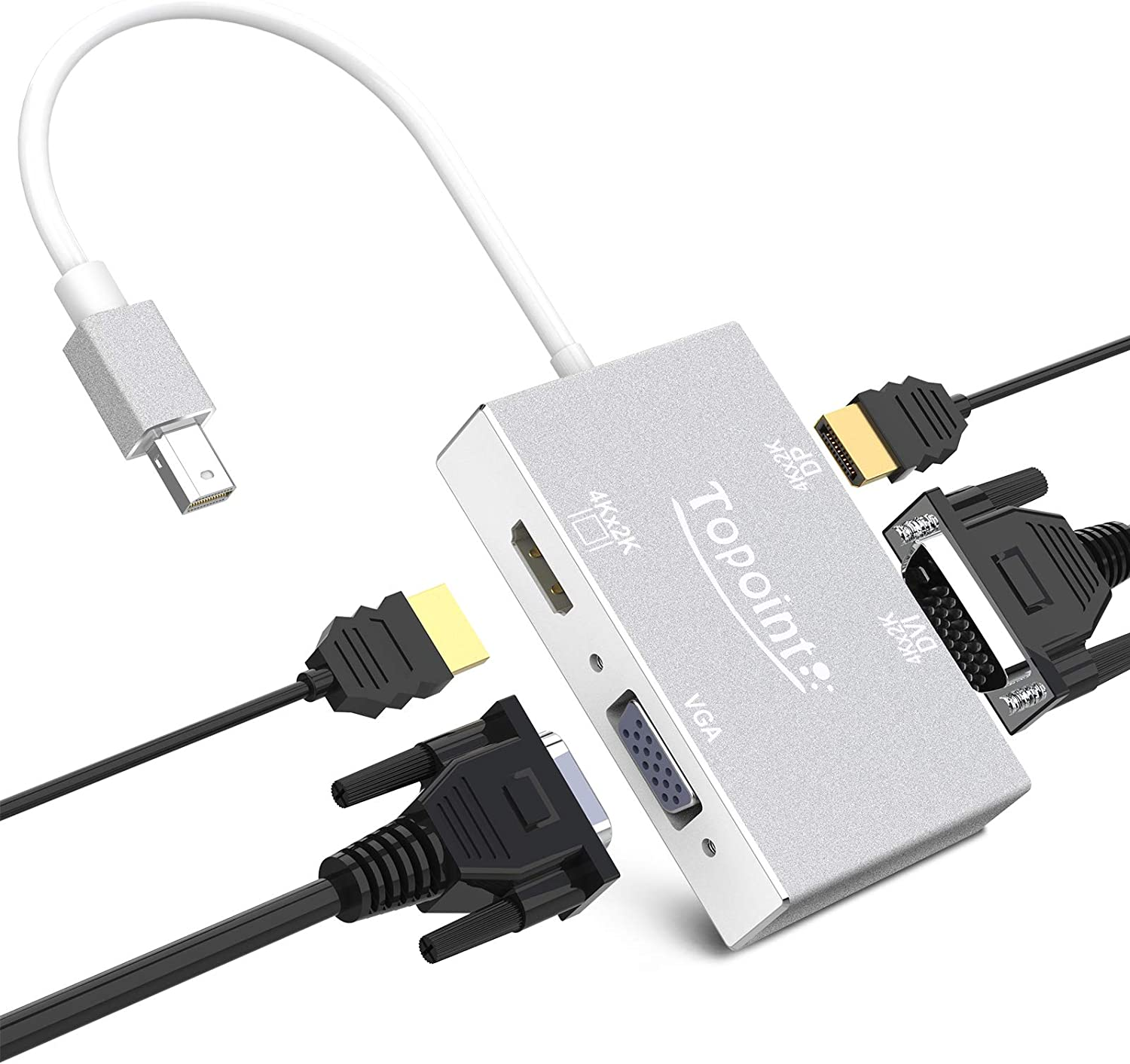 Mini DisplayPort to HDMI VGA DVI DisplayPort(DP) Adapter 4 in 1 TOPOINT Converter 4K Thunderbolt 2 Cable Compatible for MacBook Pro/ThinkPad X1/Surface Laptop 2 /Surface Book /Surface Pro 1 2 3 4 6