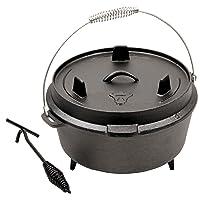 Gusstopf 6 QT Gartengrill BBQ-Toro Gusseisen schwarz klein Garden Garten Camping Picknick ✔ rund