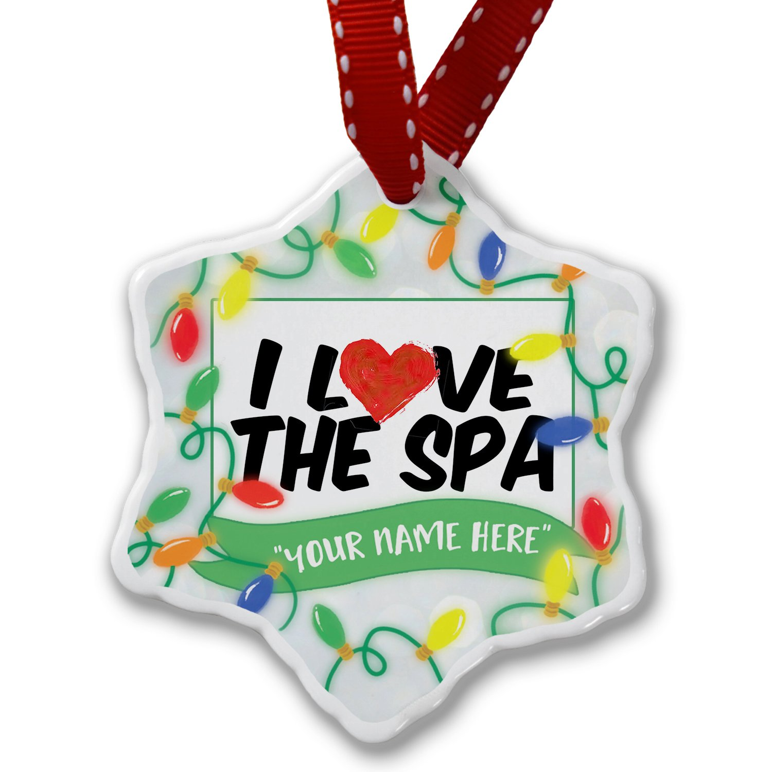 Personalized Name Christmas Ornament, I Love the Spa NEONBLOND