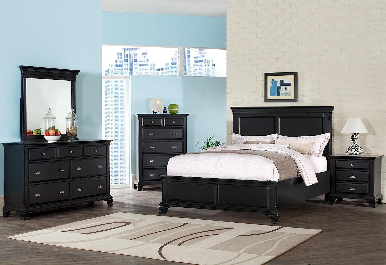 Amazon.com: Roundhill Furniture Laveno 011 Black Wood Bed, King: Kitchen U0026  Dining