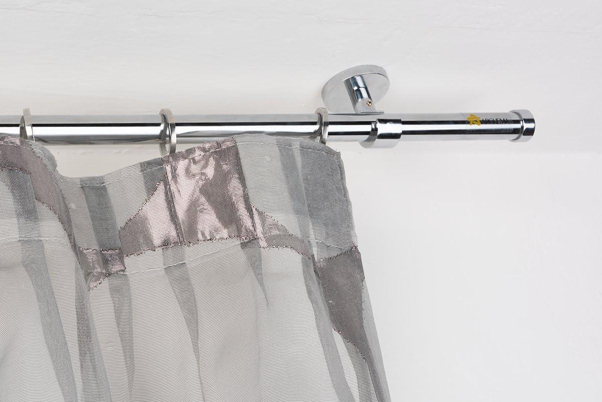 InCasa Bastone per Tende /Ø 20 mm Completo L 140 cm in Acciaio Cromato Lucido