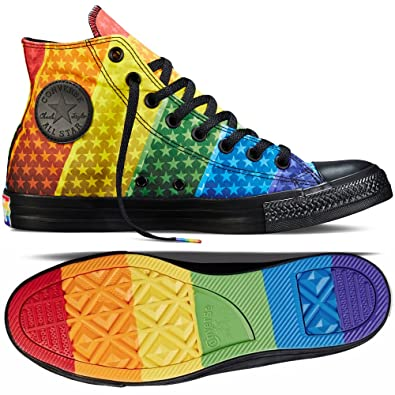 eb24d54b4844 Converse Chuck Taylor Hi All Star Pride LGBT Rainbow 154792C Black Unisex  Shoes (Size 12