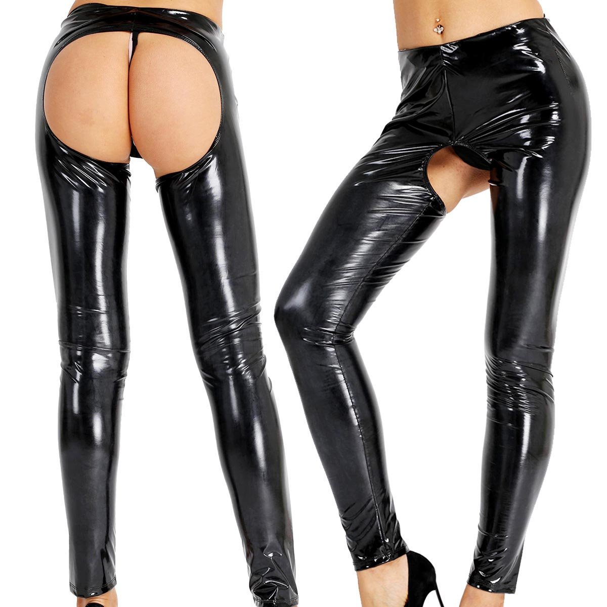 bb6f1e66147ce2 YiZYiF Womens Lingerie PVC Leather Wet Look Leggings Open Crotch Skinny  Long Pants at Amazon Women's Clothing store: