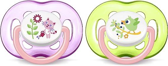 Philips Avent SCF186/25 - Chupete decorado con animales, tetina extra resistente, 18 meses, niña, 2 unidades: Amazon.es: Bebé