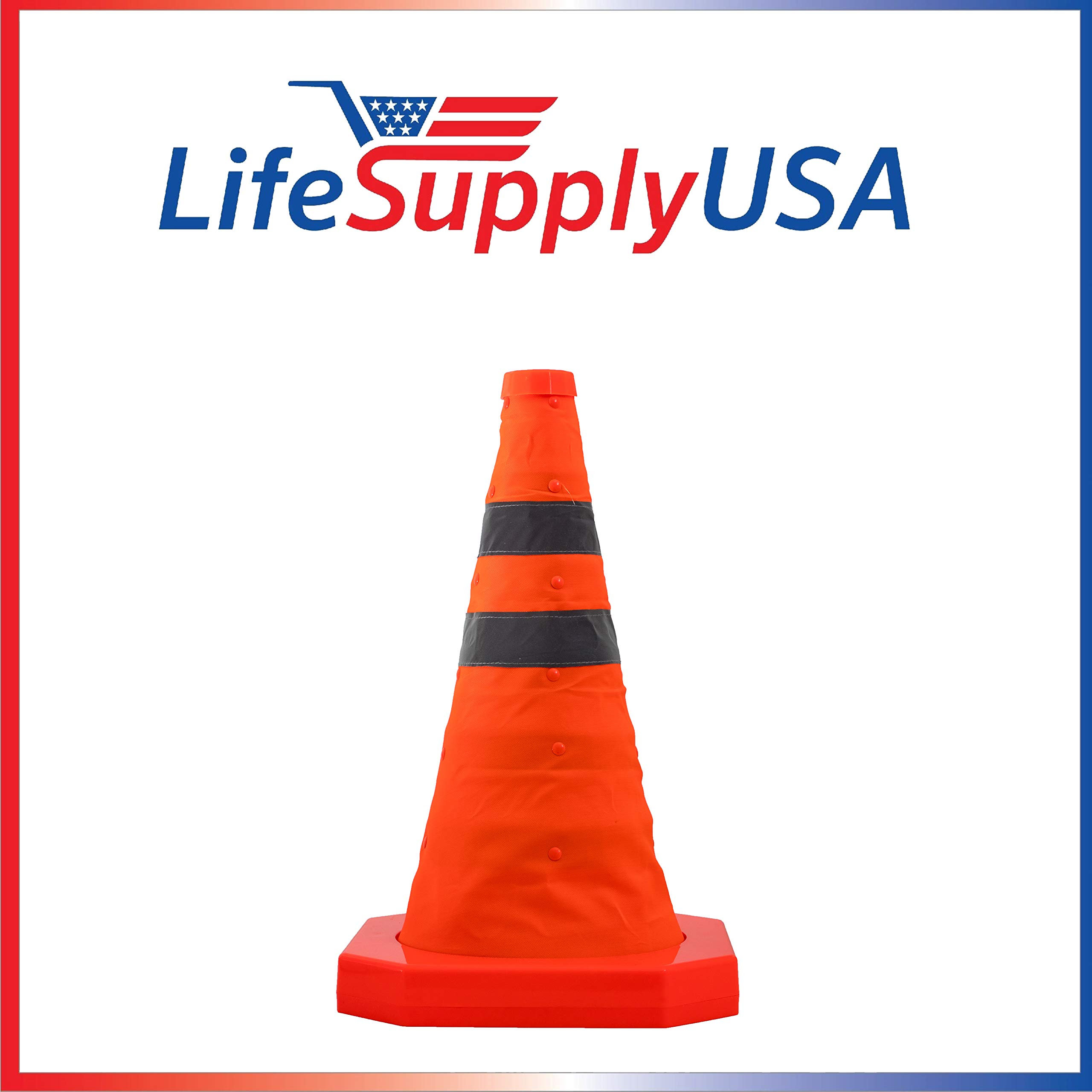 4PK Collapsible Traffic Cones 15.5 inch Reflective Multi Purpose Pop up Road Safety Extendable Cone