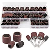 104 Pieces Sanding Drum Kit with Free Box Sanding Band Drum Sleeve 60 120 320 Grit 1/4' 1/2' Nail Drill Sander with 4…
