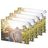 T ATHINK 5x7 Magnetic Acrylic Picture Frame 5 Pack, Crystal Clear & Free Standing & Double Side Desktop Photo Frame