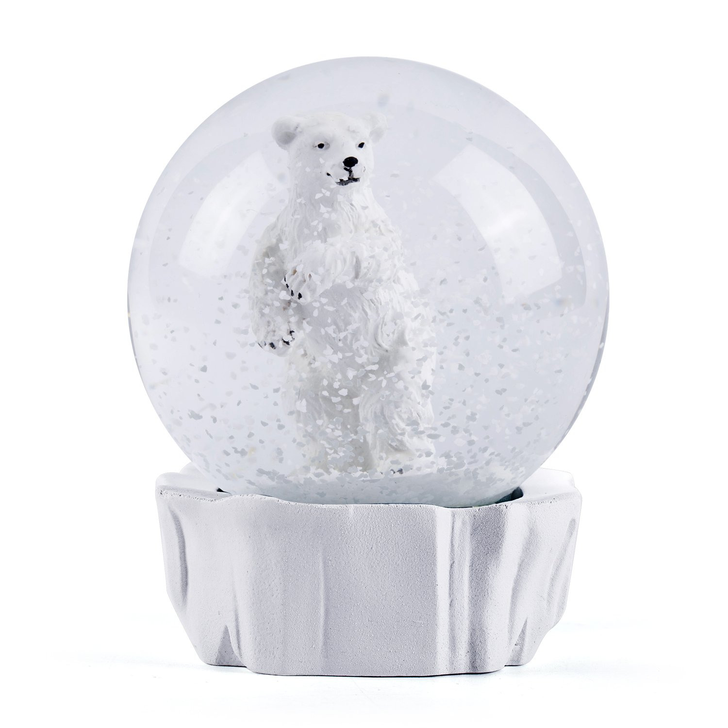 WOBAOS Snow Globe crafts- Sculptured Resin Water Ball - Christmas Valentine's day birthday holiday new year's gift (Diameter 80mm, White)