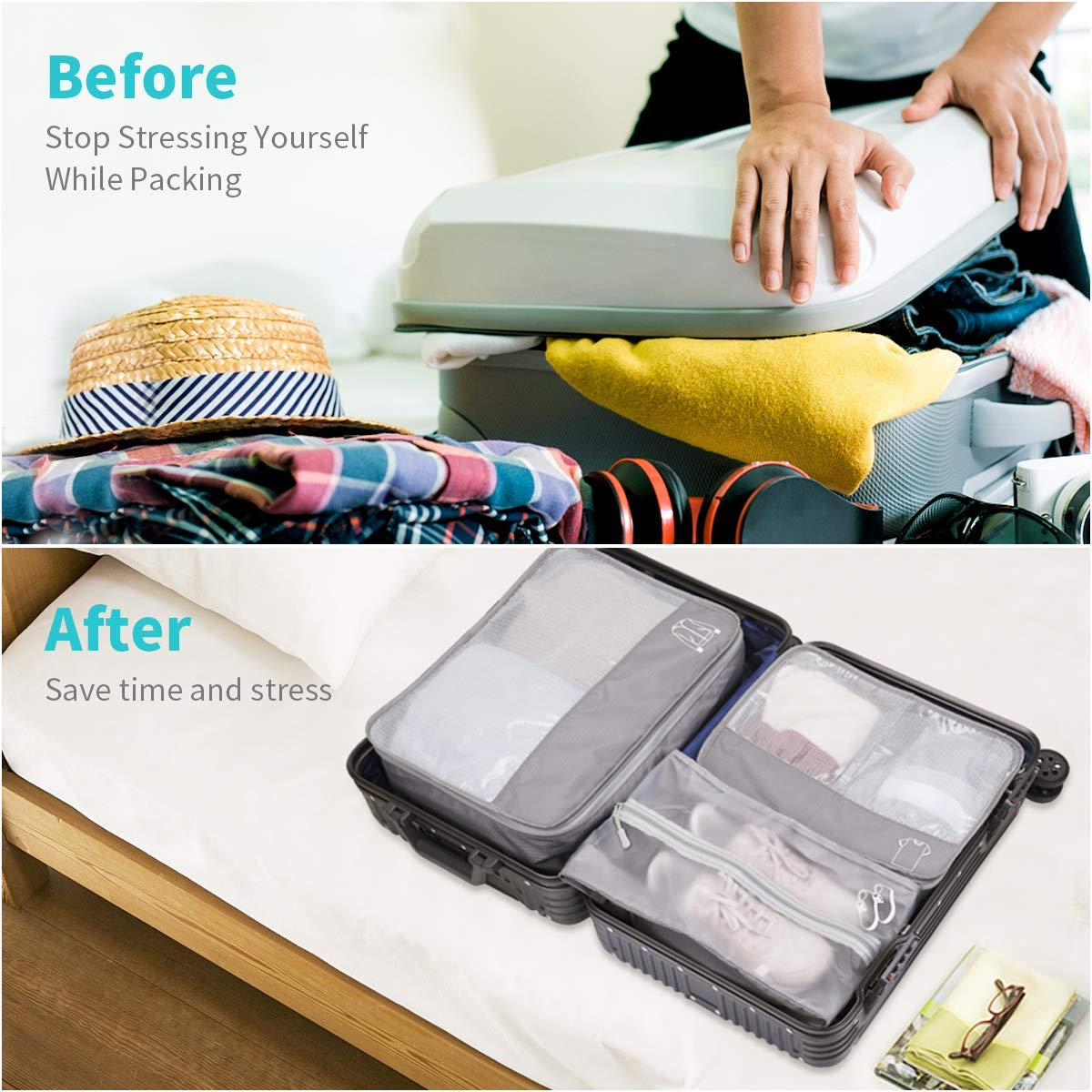 Storage Packing Cubes, Morpilot 6-Sets Best Value Luggage Organizers, Storage Bags Suitcase - Compressible Storage Cubes for Holiday Travel, Laundry & Home Storage