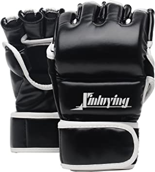 Xinluying MMA Gloves Martial Arts Grappling Sparring Punch Bag UFC Boxing Training Half Mitts for Men Women