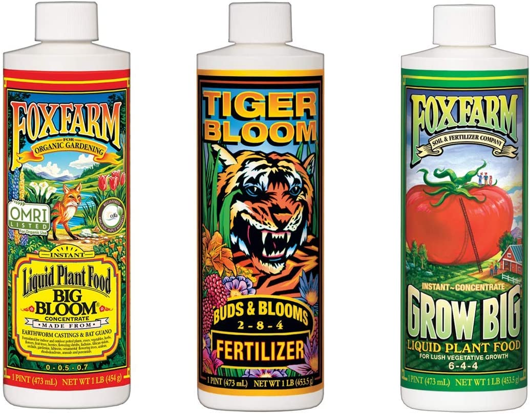 Fox Farm Big Bloom, Grow Big, Tiger Bloom Hydroponic Liquid Nutrient Soil Fertilizer for Indoor Gardens, Flowers, and Fruits (Pack of 3)