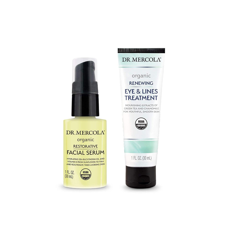 Dr. Mercola Organic Restorative Skincare Set, non GMO, Gluten Free, Soy Free, Organic Leaping Bunny Certified