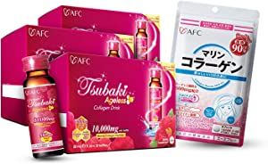 AFC Japan Tsubaki Ageless Beauty Collagen Drink with 10,000mg Marine Collagen Peptides & Royal Jelly + Collagen Beauty MCP-EX 270ct Pills, Anti-Aging, Skin Revitalization, Hair, Nails & Joints Health