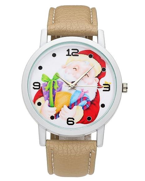 JSDDE Reloj mujer reloj Papá Noel reloj pila pulsera en PU Quartz Analogue