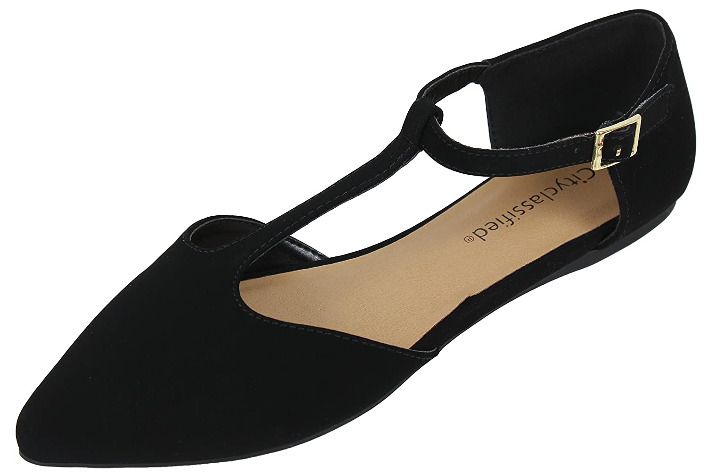 4c1b64f6e68 City Classified Women s Pointy Toe T Strap Flat Sandal  8LIKu1104507 ...