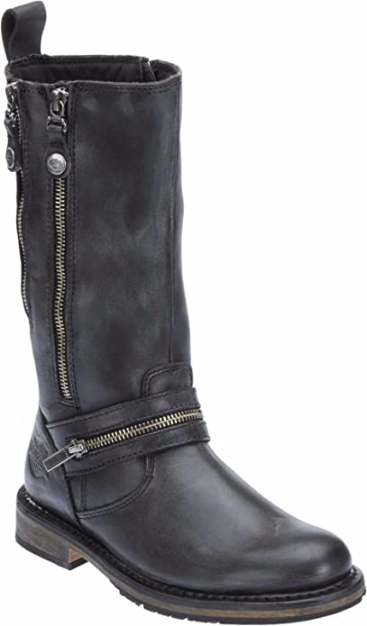 a6f00cfaa9a Harley Davidson Sackett Ladies Biker Boots Black Leather Double Zip ...