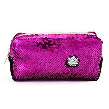 34f587eb1bc8 Amazon.com   Aiyouxi Mermaid Sequin Women Glitter Cosmetic Bag Pencil Box Coin  Purse Makeup Case Gift (Hot pink)   Beauty