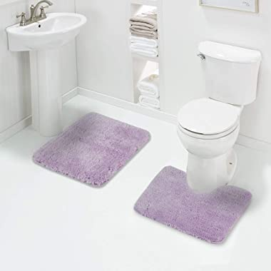 Walensee Shaggy 2 Piece Bath Rug Set (Lavender) 20 x 24 U Shape Contour Rug & 20 x 32 Bathroom Rug Machine Wash/Dry Bath Mats for Bathroom Plush Absorbent Bathroom Rugs and Mats Set Non Slip