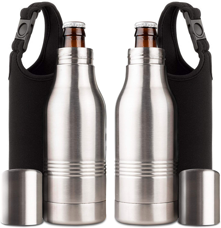 Stainless Steel Insulator Beer Bottle Cooler Cold Beer Opener 12 oz 2 Pack Set