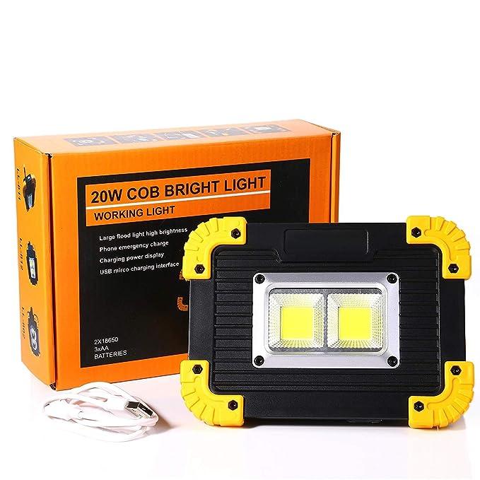 PSATO Luz De Trabajo LED De 20 W, Proyector Recargable IPX4 ...