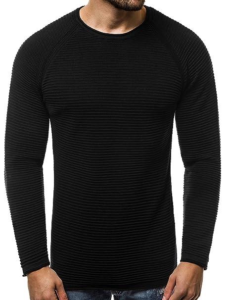 4a526b0f894f Ozonee Jersey de Punto Hombre Moderno Ceñido Camisa Cálido Básico Chaqueta  de Punto Tejidos Diario B/2426 - Negro Ozonee-B / 2426, X-Large: Amazon.es:  Ropa ...