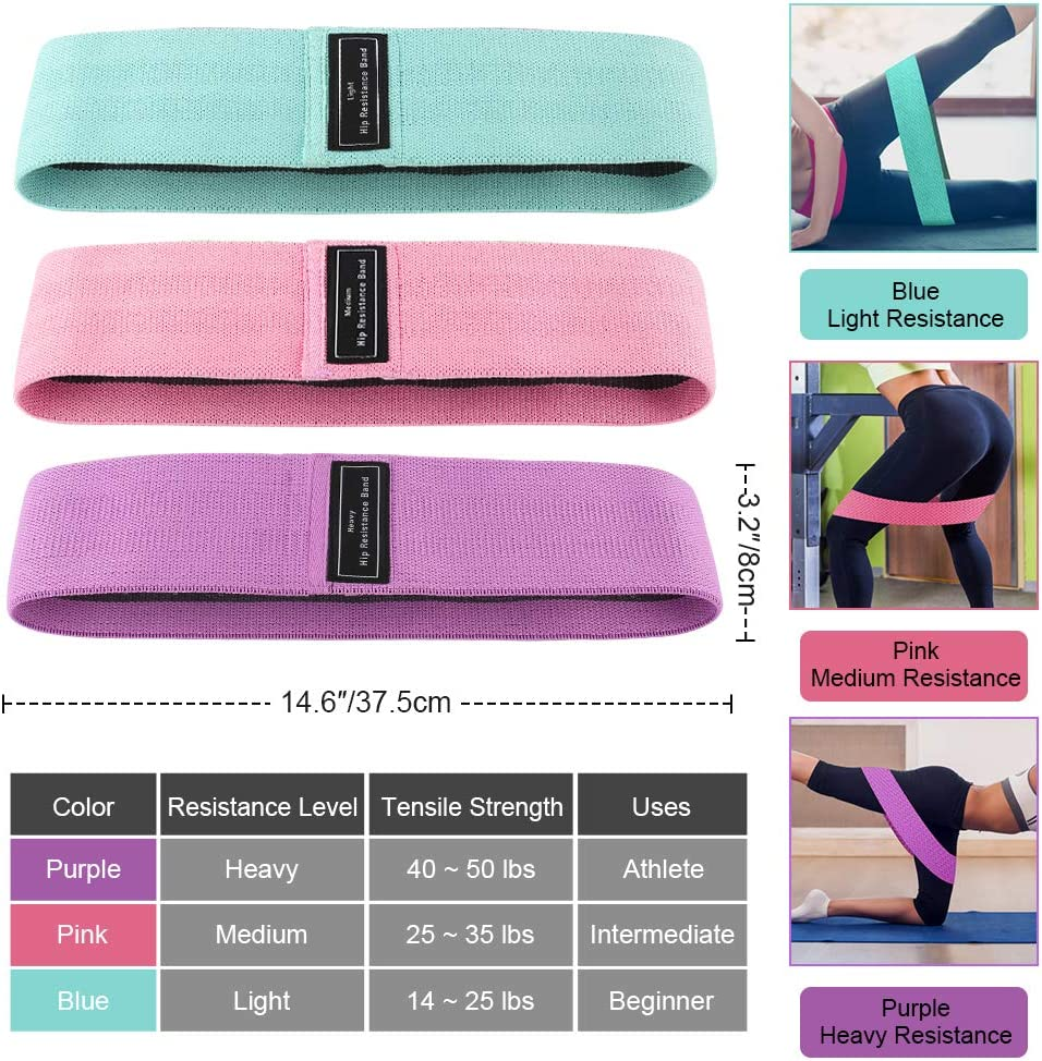 3 Resistance Levels Workout Bands for Women and Men Upgrade ...