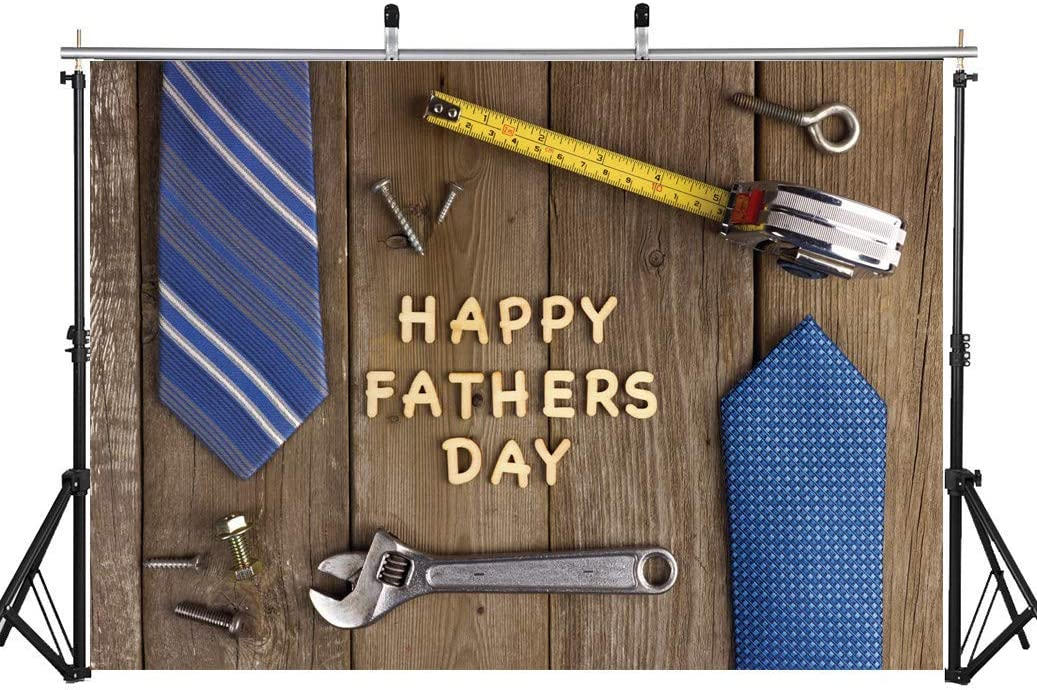 7x5 FT Fathers Day Fabric Photography backdrops Wood Repair Tools Tie Gift