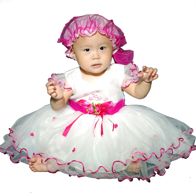 Baby Girls Christening/Wedding/Party Dress with Bonnet: Amazon.co.uk ...