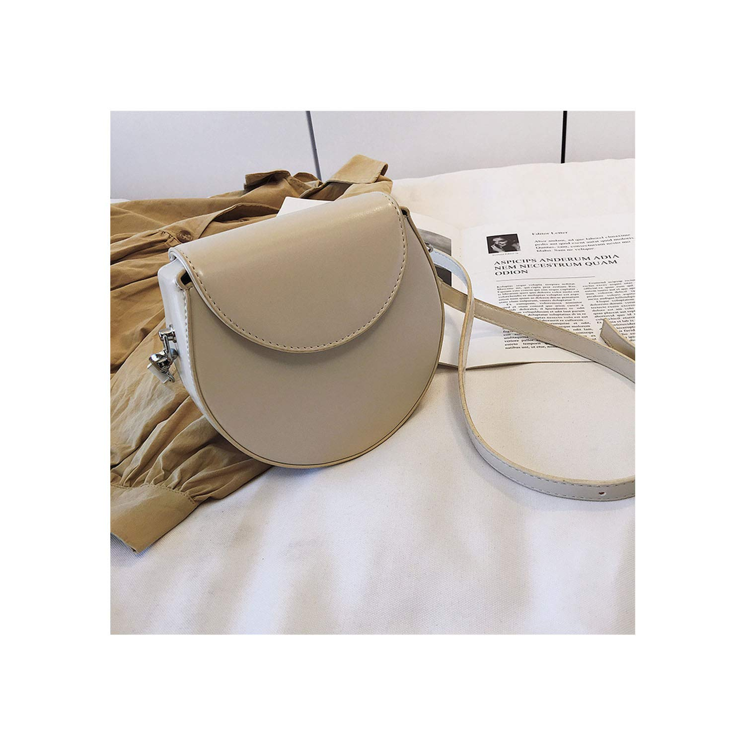 2019 Spring Summer Solid White Brown Color Single Strap Cover Closure Pu Leather Messenger Bag All Match