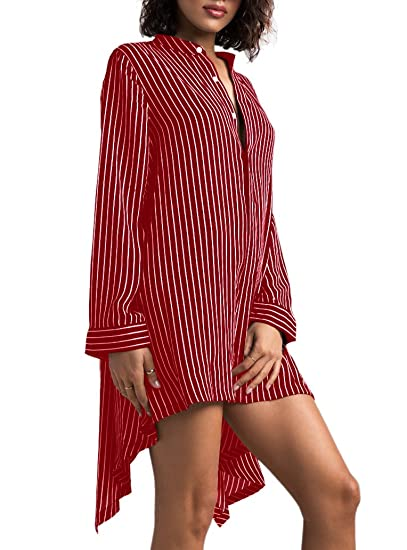 19b684d0618 LightlyKiss Women s Casual Long Sleeve Stripes Blouses Button Down Shirts  Loose Tops at Amazon Women s Clothing store