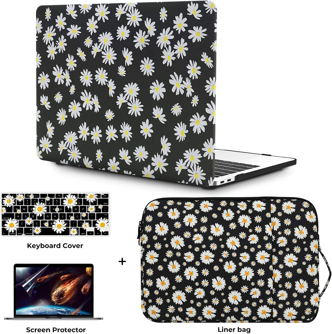 "OneGET Laptop Case for MacBook Air 13"" Retina (2020 Touch ID) w/Keyboard Cover+Flowers Sleeve+Screen Protector Leather Hard Shell Case A2179 4 in 1 Bundle (2020 A2179 Newest Air 13'', CP03)"