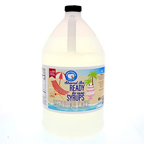 Wedding Cake Ready to Use Shaved Ice or Snow Cone Syrup Gallon (128 Fl. Oz)