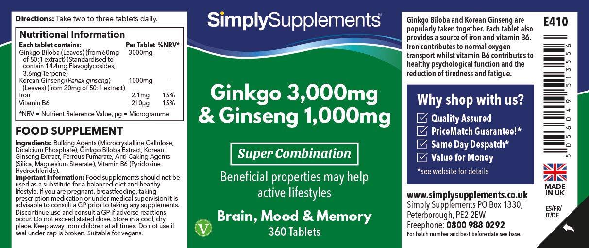 Amazon.com: Ginkgo Biloba and Korean Ginseng 360 Tablets + ...