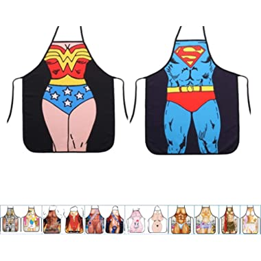 17 Styles Aslana Funny Apron for Couple - 1 Pair (2pcs) Sexy Novelty Chef Craft Apron Kitchen Cooking BBQ Party, 28  x 22  (Wonder Woman & Superman)