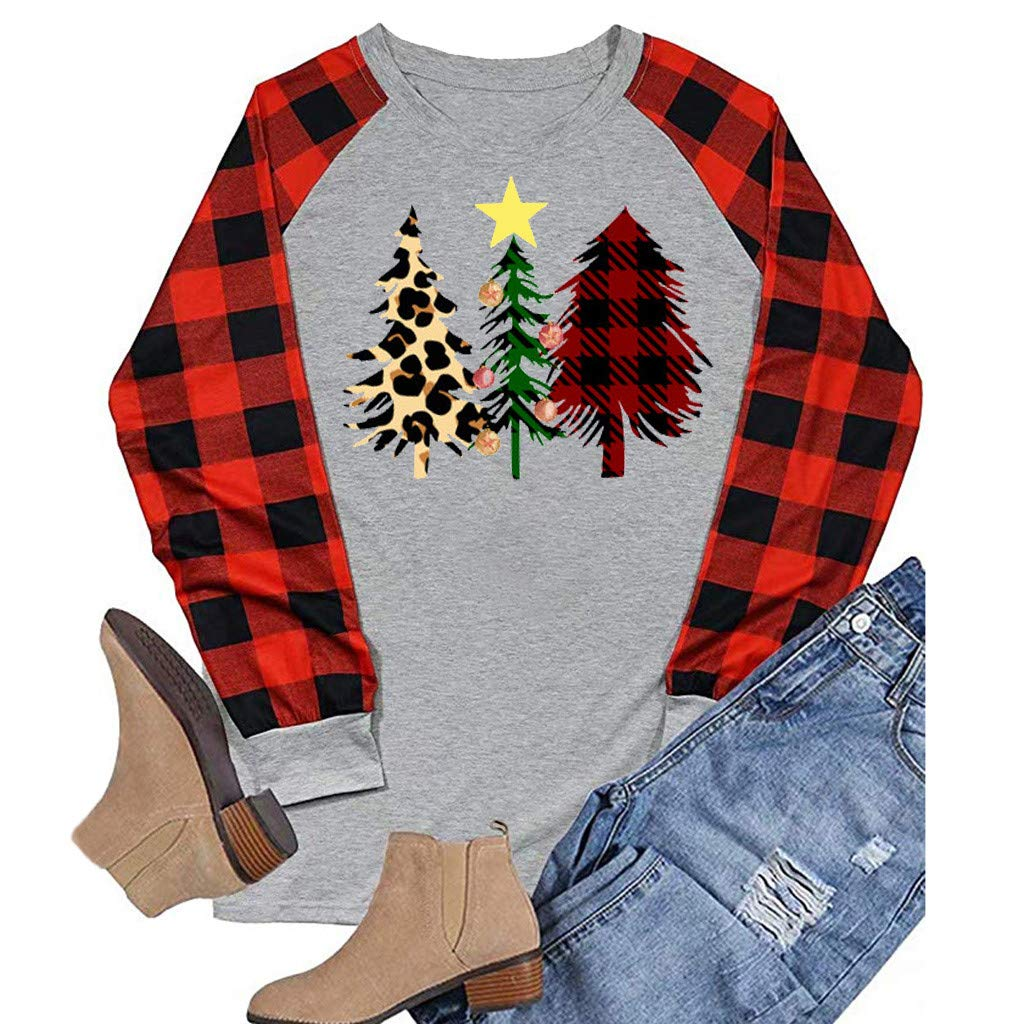 Womens Christmas Tree Print Tops Ladies Plaid Splicing Long Raglan Tops Blouses Winter Casual Pullover
