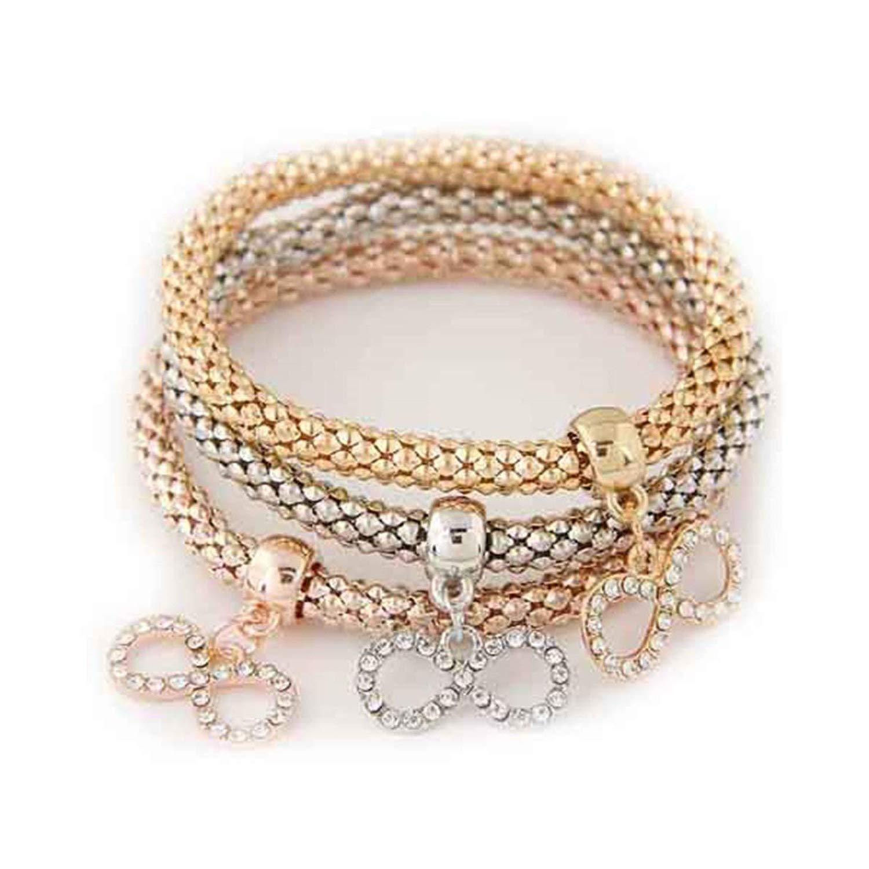 Avory 3 Piece Crystal Bracelet and Bracelet New Gold Wrap Pendant Bracelet Women