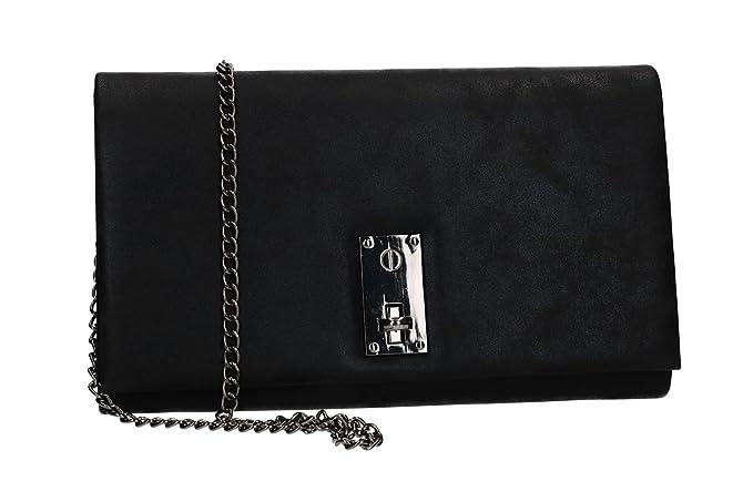 MICHELLE MOON Bolsa mujer pochette negro de ceremonia apertura metálica VN2368: Amazon.es: Ropa y accesorios