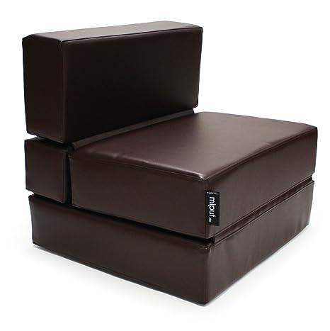MiPuf - Sofá Puf Cama Plegable - 190x80x20 cm - Tejido Polipiel Alta Resistencia - Doble Costura - Interior Foam Alta Densidad - Chocolate - 4 años de ...