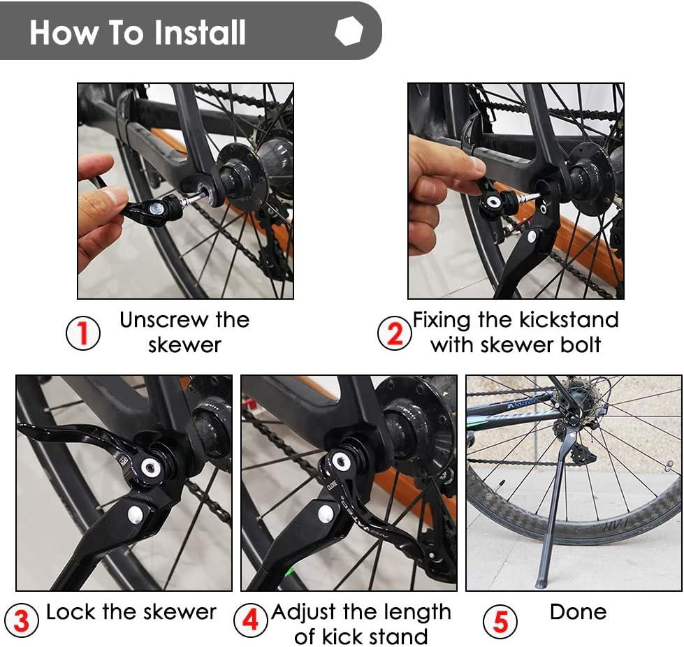 Bicycle Side Kickstand Adjustable Quick Detach Single Leg Kick Stand Rear Rack Q