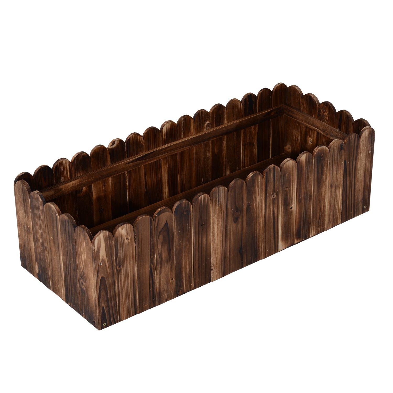 Outsunny 40'' Wooden Rectangular Scalloped Edge Raised Bed Garden Box/Flower Planter