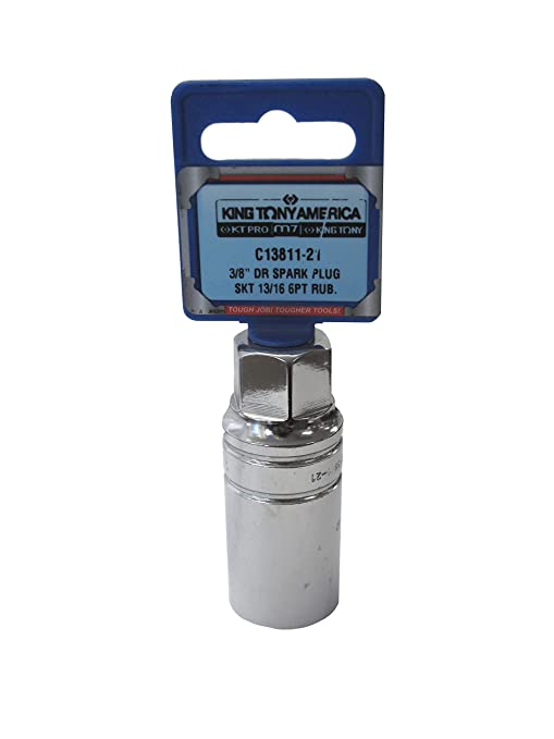 KT Pro Tools C13811-21 3//8 Drive 6-Point Rubber Spark Plug Socket