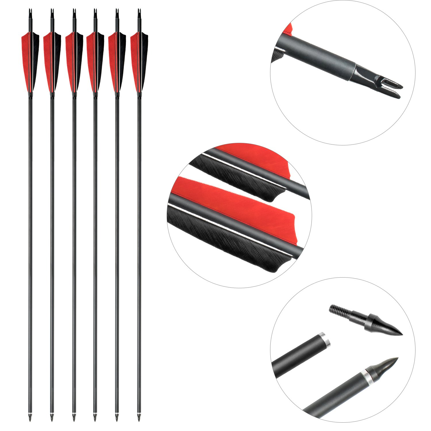 ARCHERY SHARLY 31'' Carbon Fiber Arrows Targeting Practice Arrows,5'' Black & Red Natural Feather Fletching and Replacement Screw-in Tips for Recurve Traditional Long Bow (12 Pack) by ARCHERY SHARLY (Image #3)