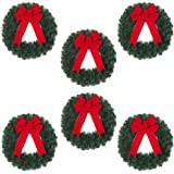 Home Accents Lightweight, Versatile Holiday 20 in. Unlit Artificial Christmas Wreath with Red Velvet Bow (Set of 6)