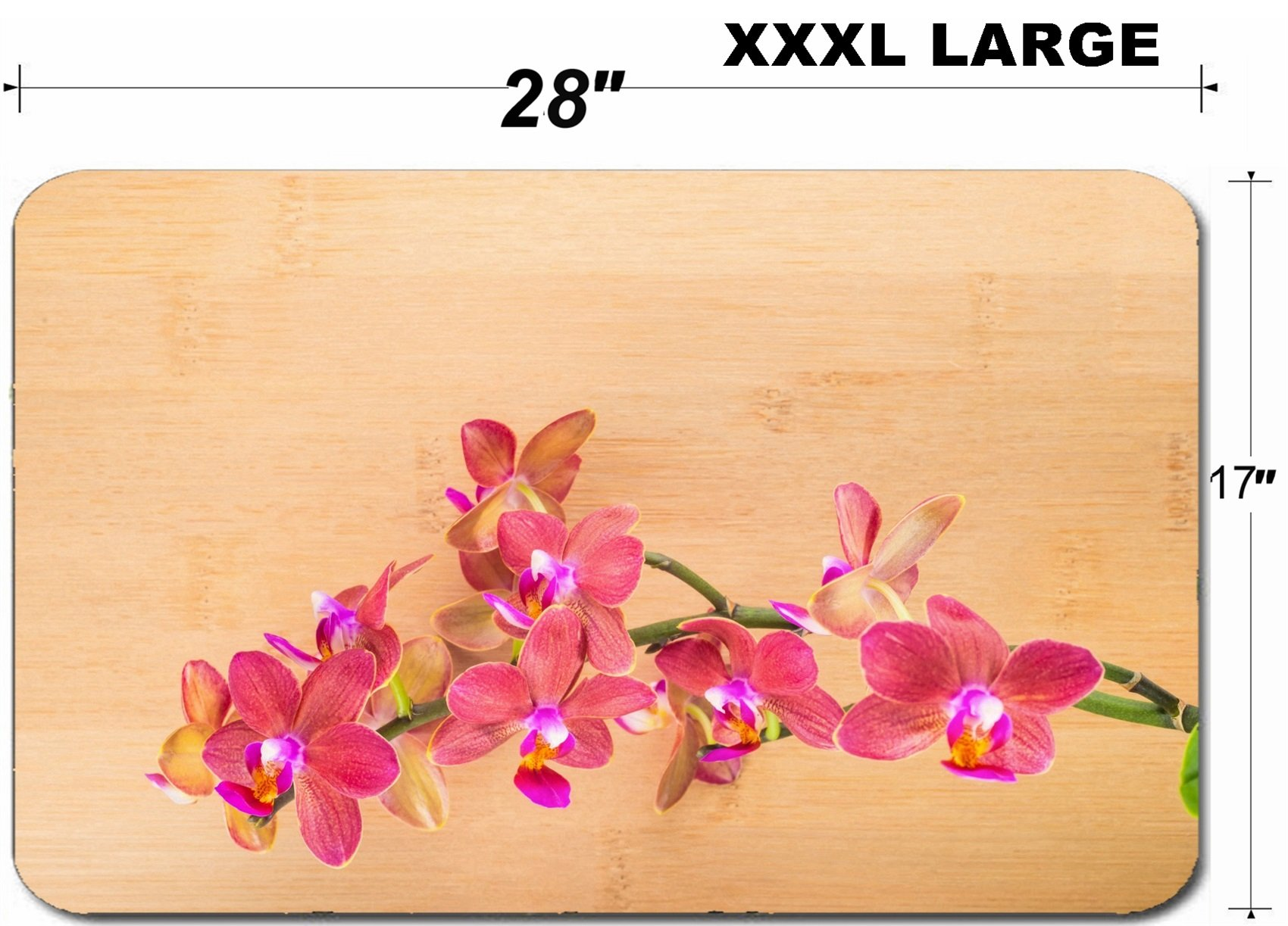 Luxlady Large Table Mat Non-Slip Natural Rubber Desk Pads spa concept red orchid on the bamboo IMAGE ID 25203500
