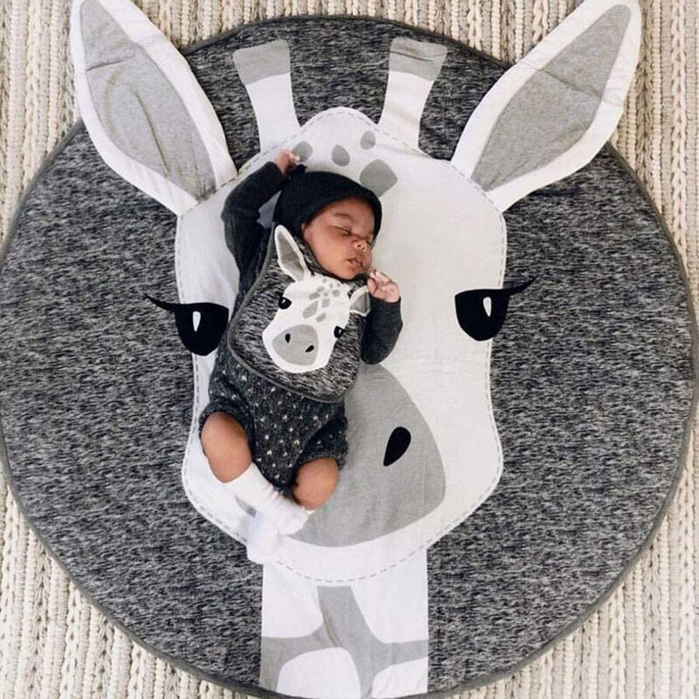 39 Inch Round Baby Crawling Mat Baby Anti-Slip Game Mat Floor Play Carpet Home Room Decor Big Bear BOI Kids Nursery Rug