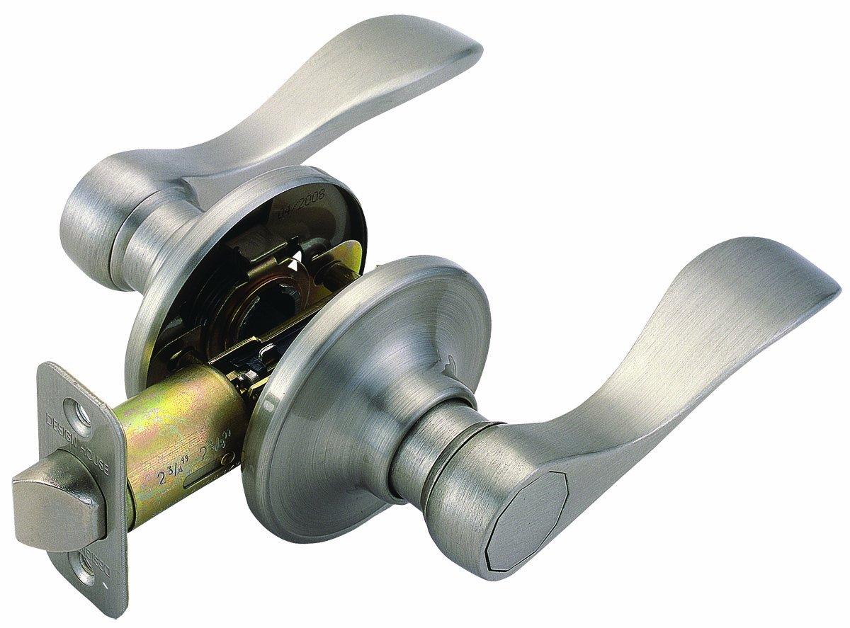 Design House 700484 Springdale 2-Way Latch Passage Door Handle, Adjustable Backset, Satin Nickel Finish
