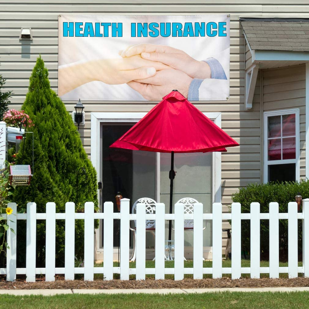 Vinyl Banner Multiple Sizes Health Insurance A Advertising Printing Business Outdoor Weatherproof Industrial Yard Signs 8 Grommets 48x96Inches