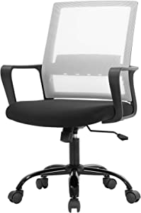 Office Chair Ergonomic Desk Task Chair Mesh Computer Chair Mid-Back Mesh Home Office Swivel Chair Modern Executive Chair with Wheels Armrests Lumbar Support (White)
