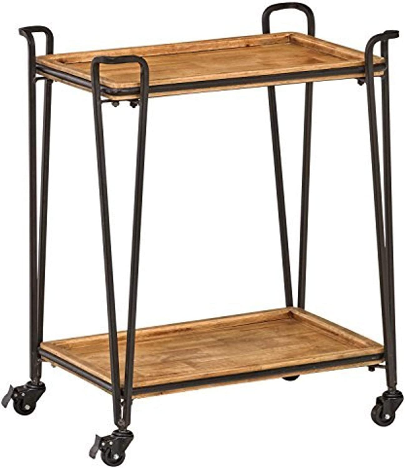 Amazon Brand – Rivet Industrial Modern 4-Post Rolling Bar Cart Table with Wheels, 25.2